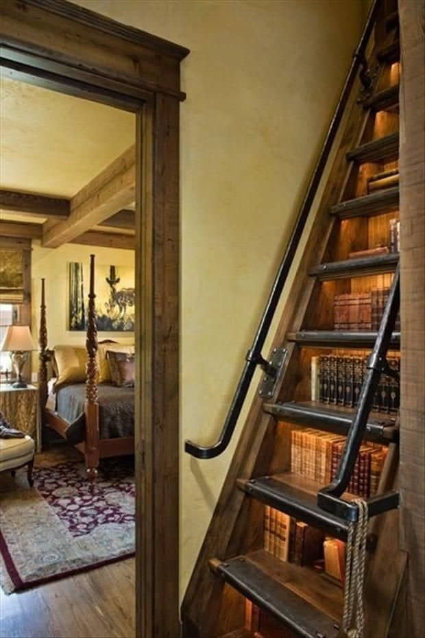 Bookshelves as attic stairs