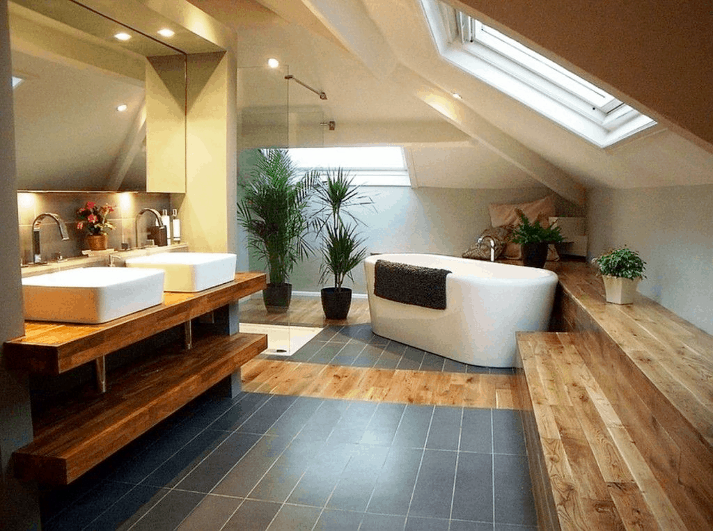 attic bathroom plant ideas
