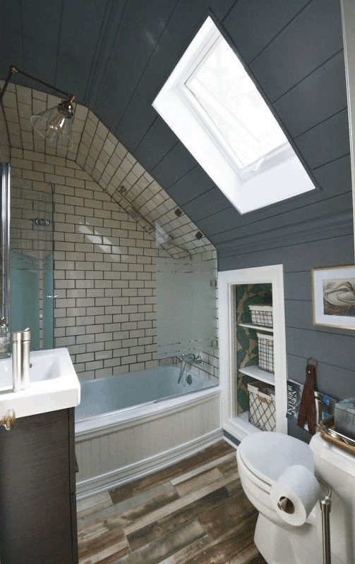 cool or mild colors for attic bathroom
