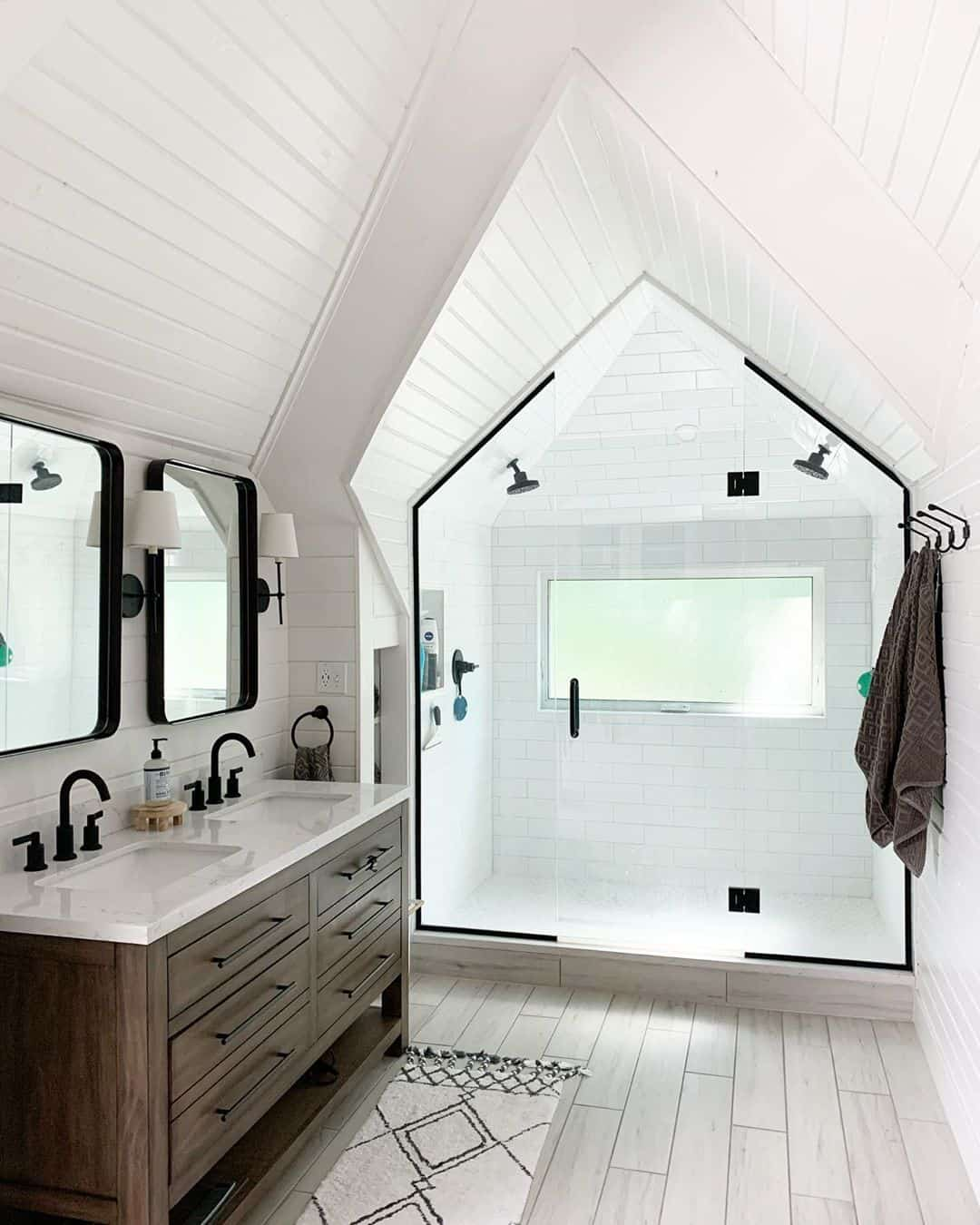glass wall for attic bathroom