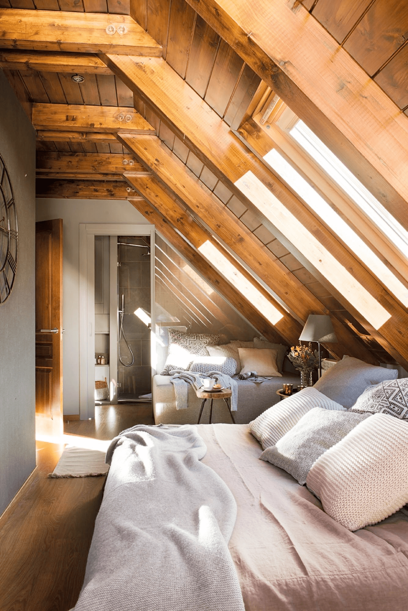keep it natural with wood in attic bedroom