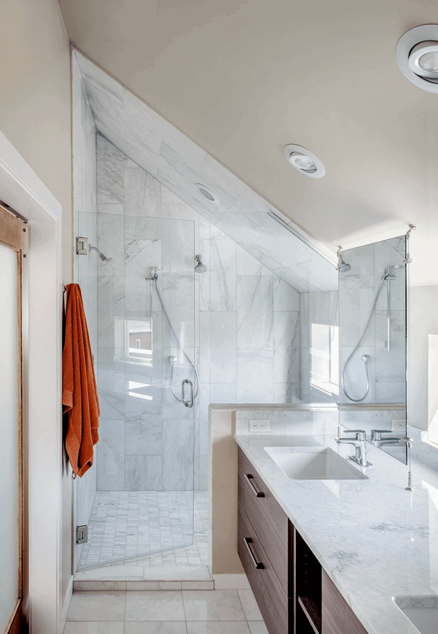 marble bathroom for attic