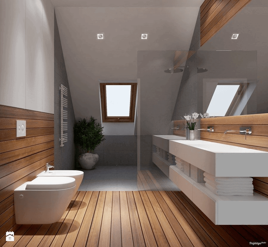 natural wood attic bathroom idea