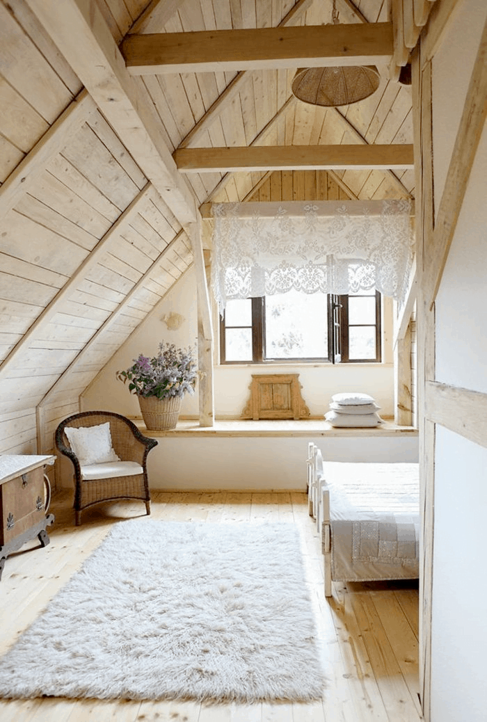 stylish curtains for attic bedroom
