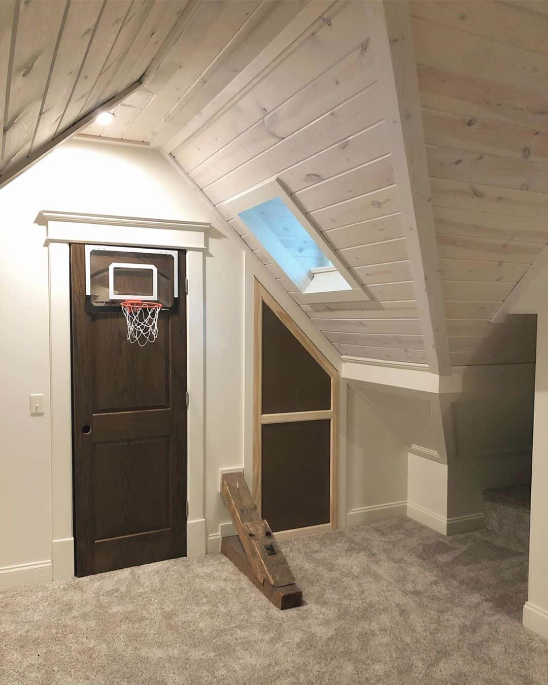 add a small basketball hoop in your kids attic playroom