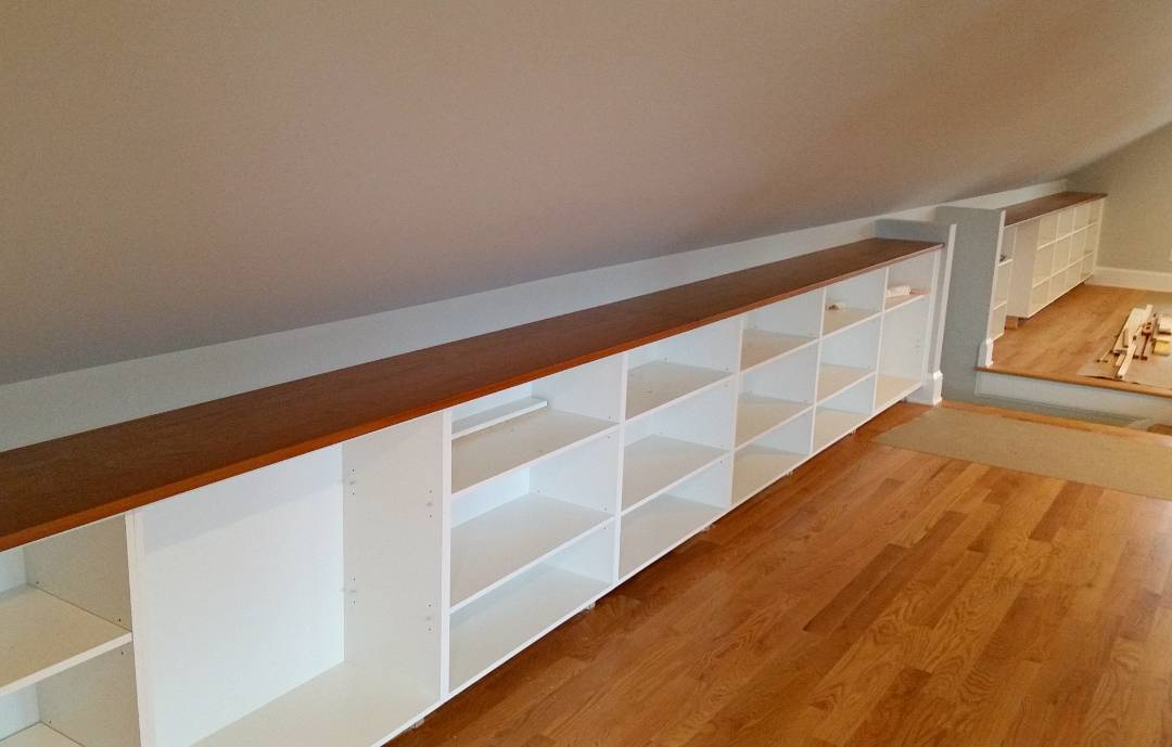 build a long shelf for your attic game room