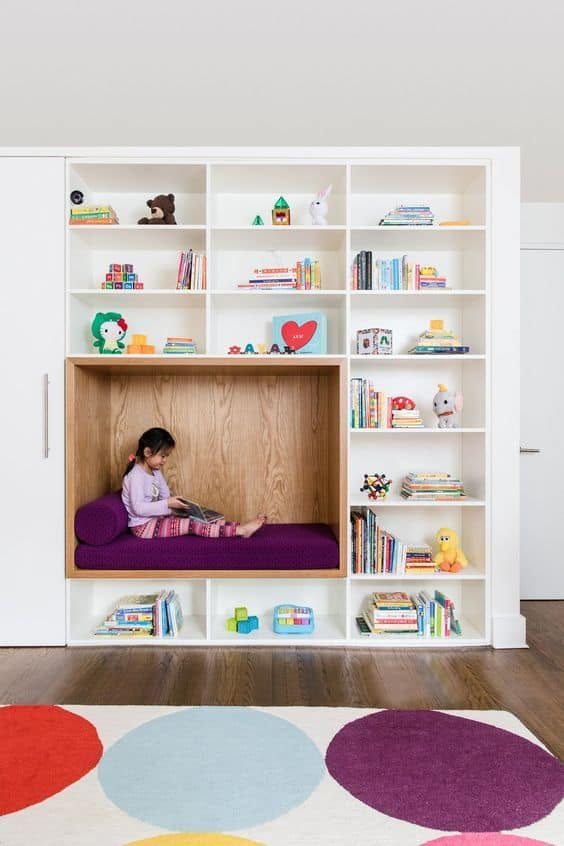 build an in-wall bookcase for your attic playroom