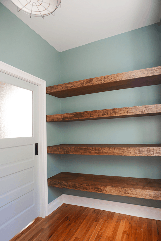 floating shelves as your attic closet