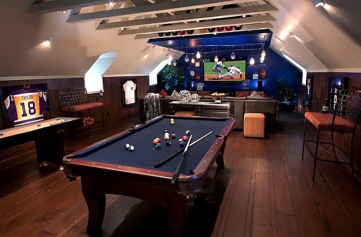 imitate a classic sports bar in your attic game room