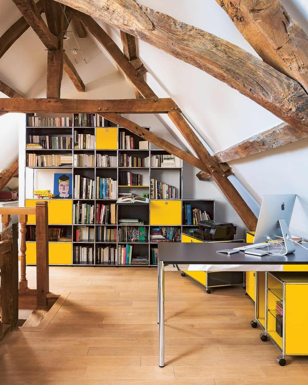 keep the bare wood in your attic office