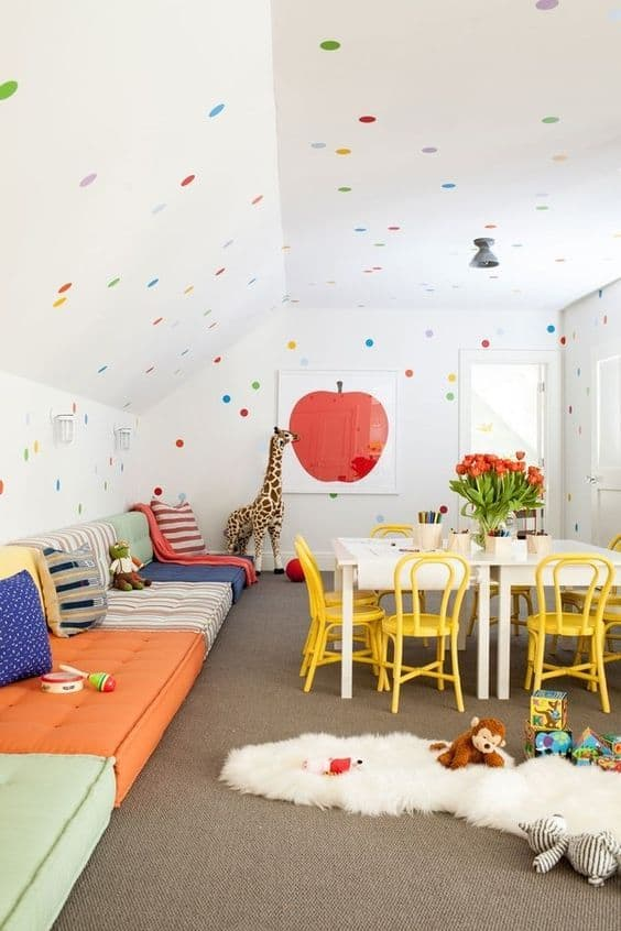 make room for friends in your attic playroom