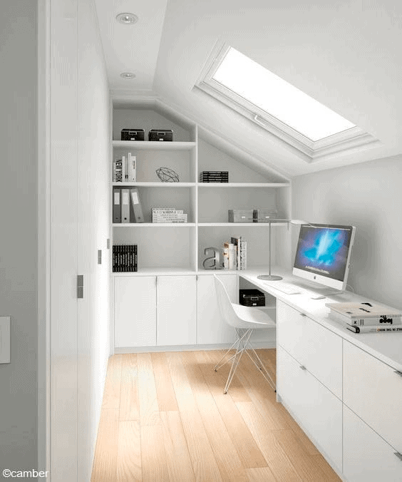 maximize storage in your attic office space