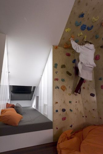 rock climbing wall for your attic bedroom