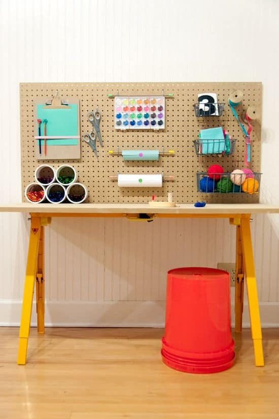 set up a mini tool rack in your attic playroom