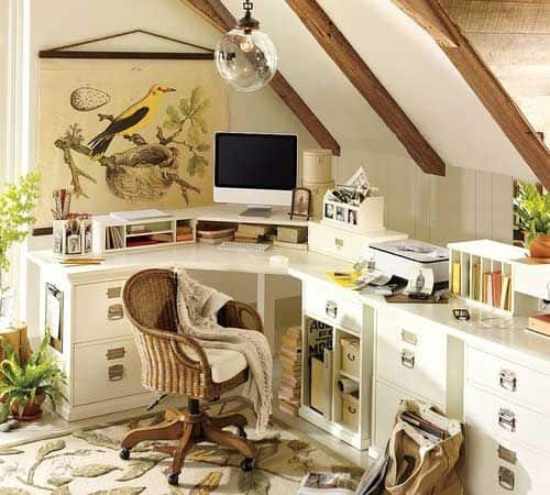 stick to nature's colors for your attic office