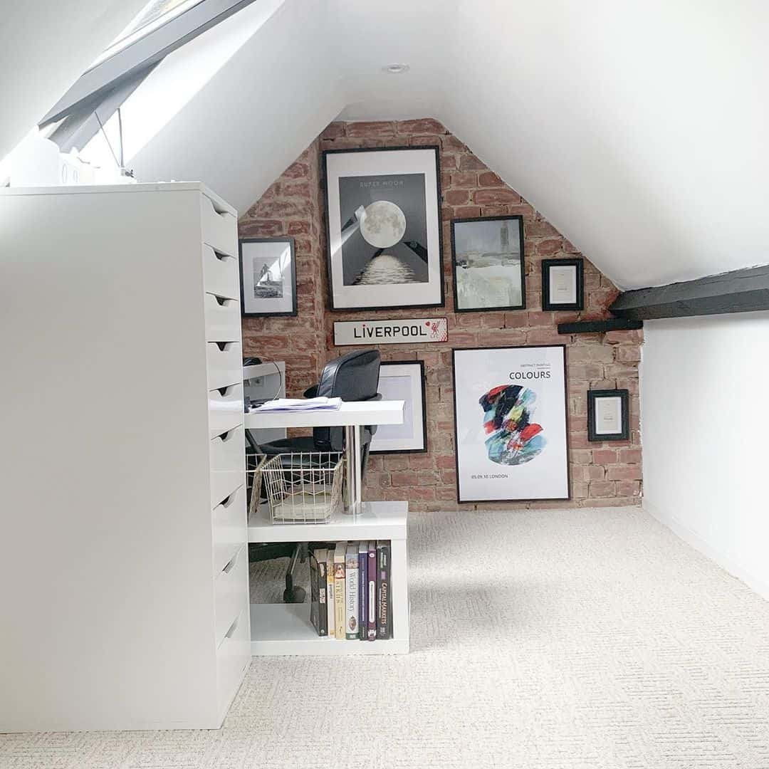 use bricks for contrast in your attic office