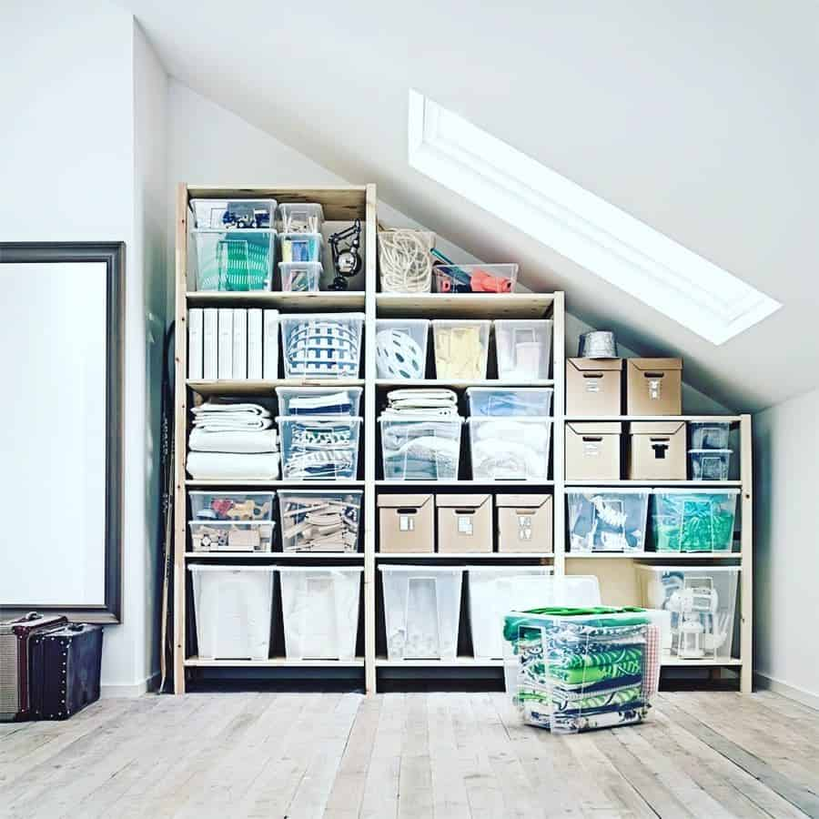 well-structured organizers as attic storage