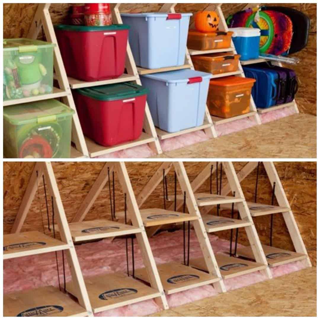 Planks In-Between Trusses as Attic Shelf