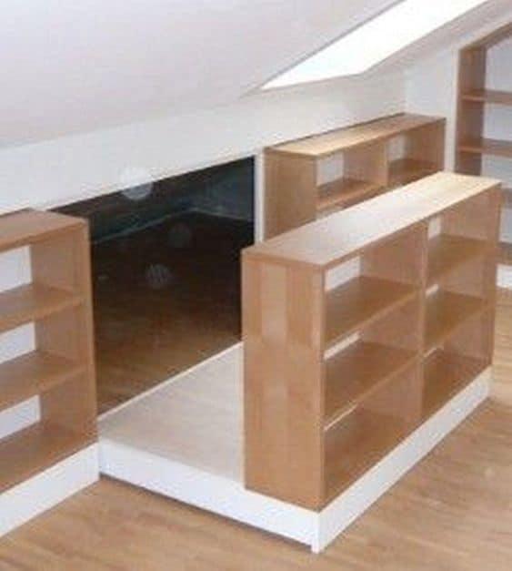 Pull-Out Platform as attic shelf