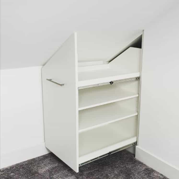Pull-Out Shelves as Attic Shelf