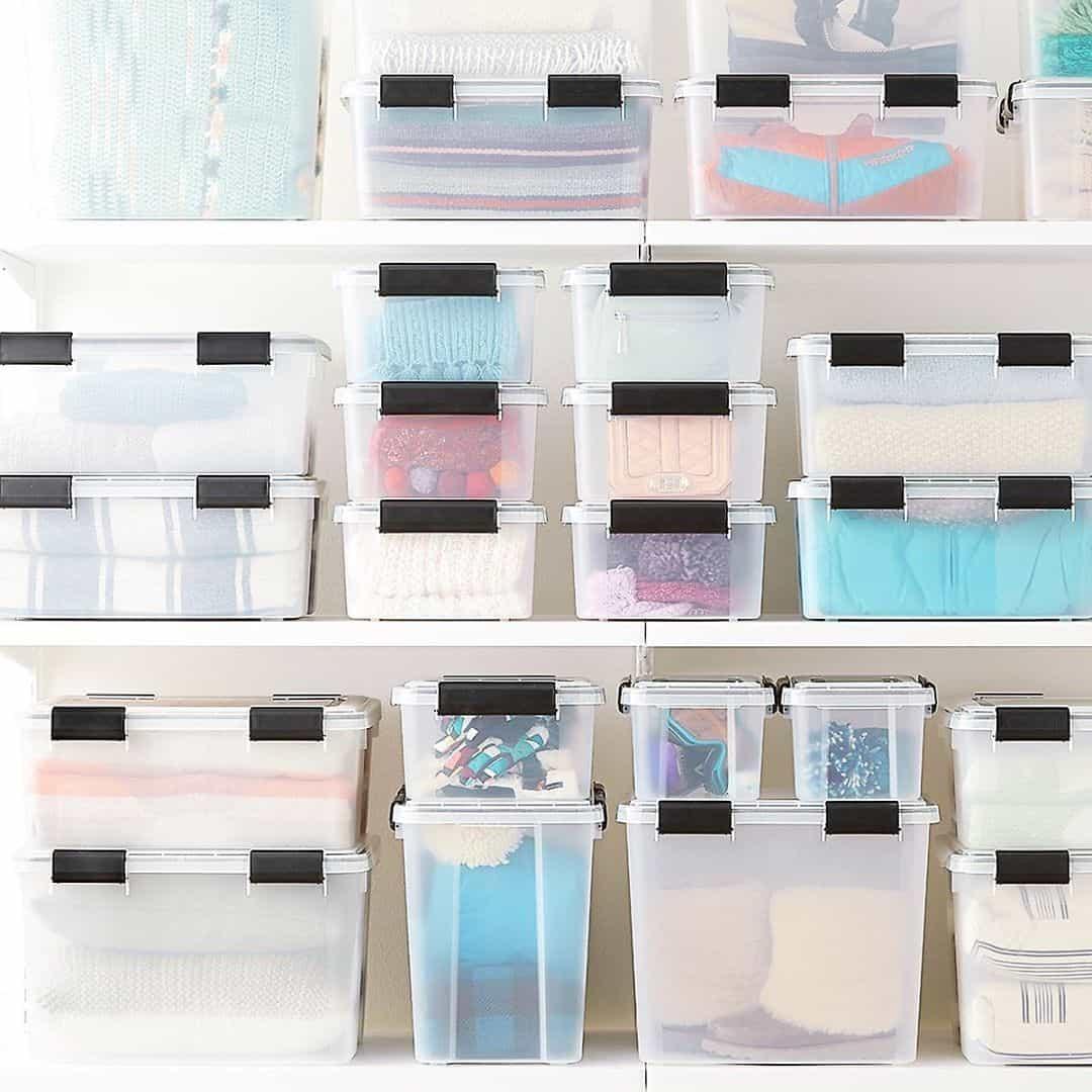 Transparent Bins as Attic Shelf
